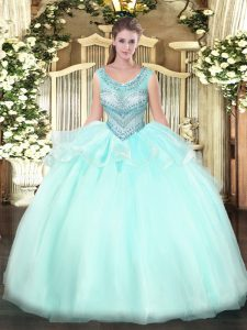 Designer Floor Length Ball Gowns Sleeveless Aqua Blue 15th Birthday Dress Lace Up
