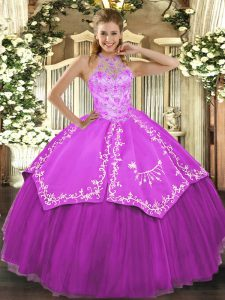 Fuchsia Halter Top Neckline Beading and Embroidery Vestidos de Quinceanera Sleeveless Lace Up