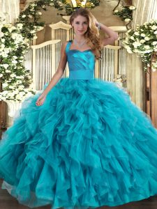 Graceful Teal Lace Up Halter Top Ruffles Quinceanera Gowns Tulle Sleeveless
