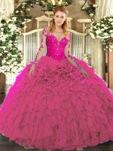 Organza Scoop Long Sleeves Lace Up Lace and Ruffles Quinceanera Dresses in Fuchsia