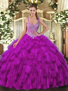 Simple Floor Length Ball Gowns Sleeveless Purple Ball Gown Prom Dress Lace Up