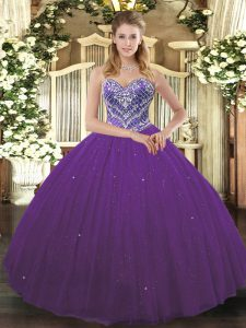 Purple Tulle Lace Up Sweetheart Sleeveless Floor Length Ball Gown Prom Dress Beading