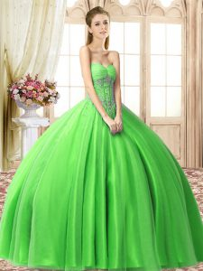 Elegant Floor Length Sweet 16 Dress Sweetheart Sleeveless Lace Up