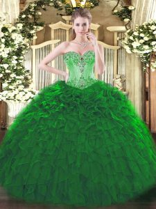 Lovely Sweetheart Sleeveless Organza Ball Gown Prom Dress Beading and Ruffles Lace Up
