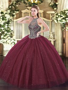 Modest Sweetheart Sleeveless Quinceanera Gown Floor Length Beading Burgundy Tulle