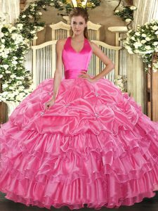 Trendy Rose Pink Lace Up Quinceanera Gown Ruffled Layers and Pick Ups Sleeveless Floor Length