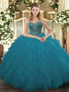Fitting Teal Ball Gowns Tulle Sweetheart Sleeveless Beading and Ruffled Layers Floor Length Lace Up 15 Quinceanera Dress