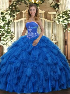 Deluxe Royal Blue Lace Up Strapless Beading and Ruffles Quinceanera Dresses Organza Sleeveless