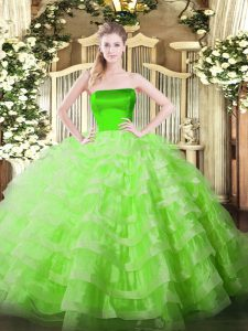 Amazing Sleeveless Floor Length Ruffled Layers Zipper Sweet 16 Dresses with