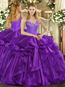 Eggplant Purple Ball Gowns Straps Sleeveless Organza Floor Length Lace Up Beading and Ruffles Quinceanera Gowns
