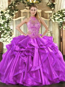 Sleeveless Beading and Embroidery and Ruffles Lace Up Sweet 16 Dresses