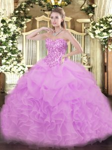Floor Length Lace Up Quince Ball Gowns Lilac for Sweet 16 and Quinceanera with Lace and Ruffles and Pick Ups