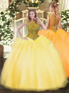 Gold Ball Gowns Scoop Cap Sleeves Organza Floor Length Zipper Beading and Appliques Sweet 16 Dresses