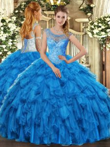 Organza Sleeveless Floor Length Vestidos de Quinceanera and Beading and Ruffles