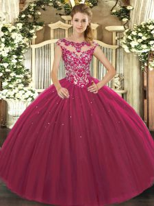 Fuchsia Cap Sleeves Tulle Lace Up Sweet 16 Quinceanera Dress for Sweet 16 and Quinceanera
