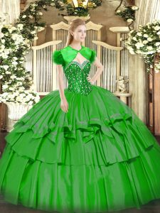 Wonderful Green Organza and Taffeta Lace Up Sweetheart Sleeveless Floor Length Sweet 16 Dresses Beading and Ruffled Layers