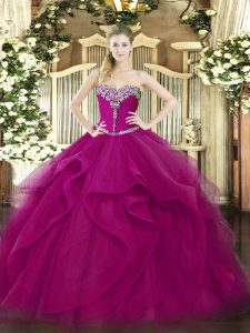 Fashionable Sleeveless Tulle Floor Length Lace Up Sweet 16 Quinceanera Dress in Fuchsia with Beading and Ruffles