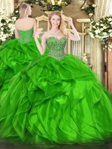 Green Sweetheart Lace Up Beading and Ruffles Sweet 16 Quinceanera Dress Sleeveless