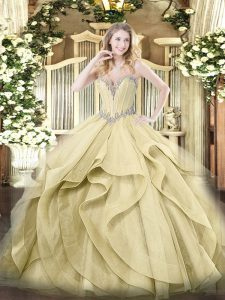 Comfortable Floor Length Yellow Sweet 16 Quinceanera Dress Tulle Sleeveless Beading and Ruffles