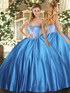 Baby Blue Satin Lace Up 15 Quinceanera Dress Sleeveless Floor Length Beading