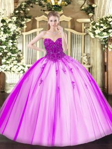 Custom Design Fuchsia Lace Up Sweetheart Beading Quinceanera Dresses Tulle Sleeveless