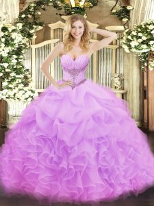 Excellent Floor Length Ball Gowns Sleeveless Lilac Ball Gown Prom Dress Lace Up