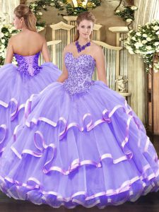 Amazing Floor Length Lavender Sweet 16 Dress Sweetheart Sleeveless Lace Up