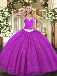 Cheap Sleeveless Appliques Lace Up Ball Gown Prom Dress