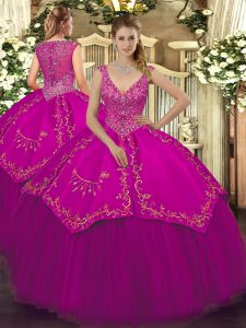 Sleeveless Taffeta and Tulle Floor Length Zipper Sweet 16 Quinceanera Dress in Fuchsia with Beading and Embroidery