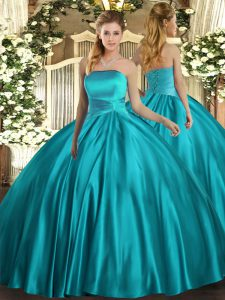 Teal Sleeveless Satin Lace Up Sweet 16 Dress for Military Ball and Sweet 16 and Quinceanera