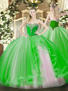 On Sale Floor Length Lace Up 15th Birthday Dress for Military Ball and Sweet 16 and Quinceanera with Beading and Ruffles