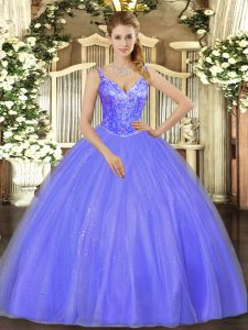 Custom Designed Lavender Tulle Lace Up V-neck Sleeveless Floor Length Quinceanera Gowns Beading
