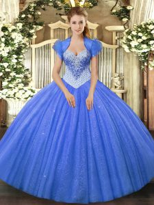 Traditional Beading Sweet 16 Dress Blue Lace Up Sleeveless Floor Length