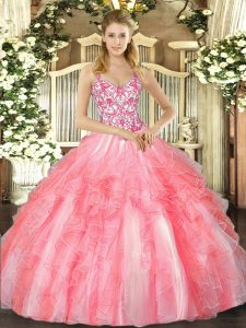 Beading and Ruffles Vestidos de Quinceanera Coral Red Lace Up Sleeveless Floor Length