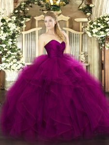 Sleeveless Zipper Floor Length Ruffles Quinceanera Dress
