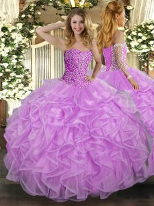 Sleeveless Tulle Floor Length Lace Up Quince Ball Gowns in Lilac with Beading and Ruffles