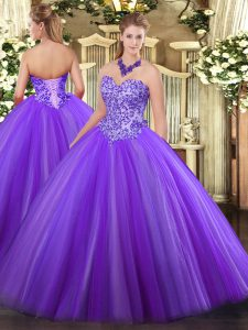 Sweetheart Sleeveless Tulle Quinceanera Dress Appliques Lace Up