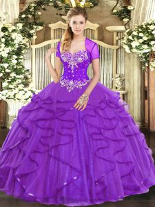 Purple Sweetheart Neckline Beading and Ruffles 15 Quinceanera Dress Sleeveless Lace Up