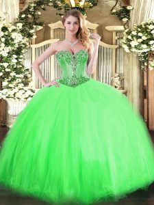Ball Gowns Tulle Sweetheart Sleeveless Beading Floor Length Lace Up Quince Ball Gowns