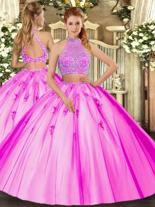 Free and Easy Floor Length Two Pieces Sleeveless Fuchsia 15 Quinceanera Dress Criss Cross
