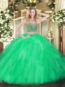 Adorable Floor Length Green Quinceanera Dress Tulle Sleeveless Beading and Ruffles