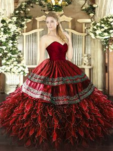 Fashion Wine Red Ball Gowns Sweetheart Sleeveless Organza and Taffeta Floor Length Zipper Embroidery and Ruffles 15 Quinceanera Dress