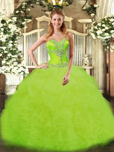 Floor Length Yellow Green Vestidos de Quinceanera Organza Sleeveless Beading and Ruffles