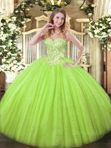 Fantastic Yellow Green Ball Gowns Tulle and Sequined Sweetheart Sleeveless Appliques Floor Length Lace Up Quince Ball Gowns