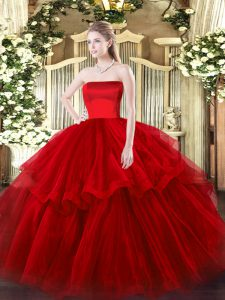 Inexpensive Wine Red Strapless Zipper Ruffled Layers 15th Birthday Dress Brush Train Sleeveless