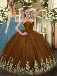 Fancy Brown Zipper Sweetheart Appliques Quinceanera Dresses Tulle Sleeveless