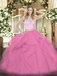 Cute Rose Pink Sleeveless Tulle Zipper Quinceanera Gowns for Military Ball and Sweet 16 and Quinceanera