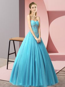 Latest Sweetheart Sleeveless Lace Up Evening Dress Baby Blue Tulle