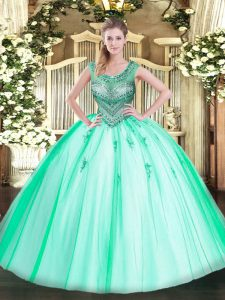 High Class Ball Gowns Quinceanera Dress Apple Green Scoop Tulle Sleeveless Floor Length Lace Up