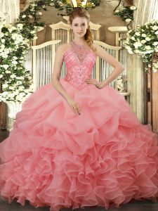 Watermelon Red Sweet 16 Quinceanera Dress Military Ball and Sweet 16 and Quinceanera with Beading and Ruffles and Pick Ups Halter Top Sleeveless Lace Up